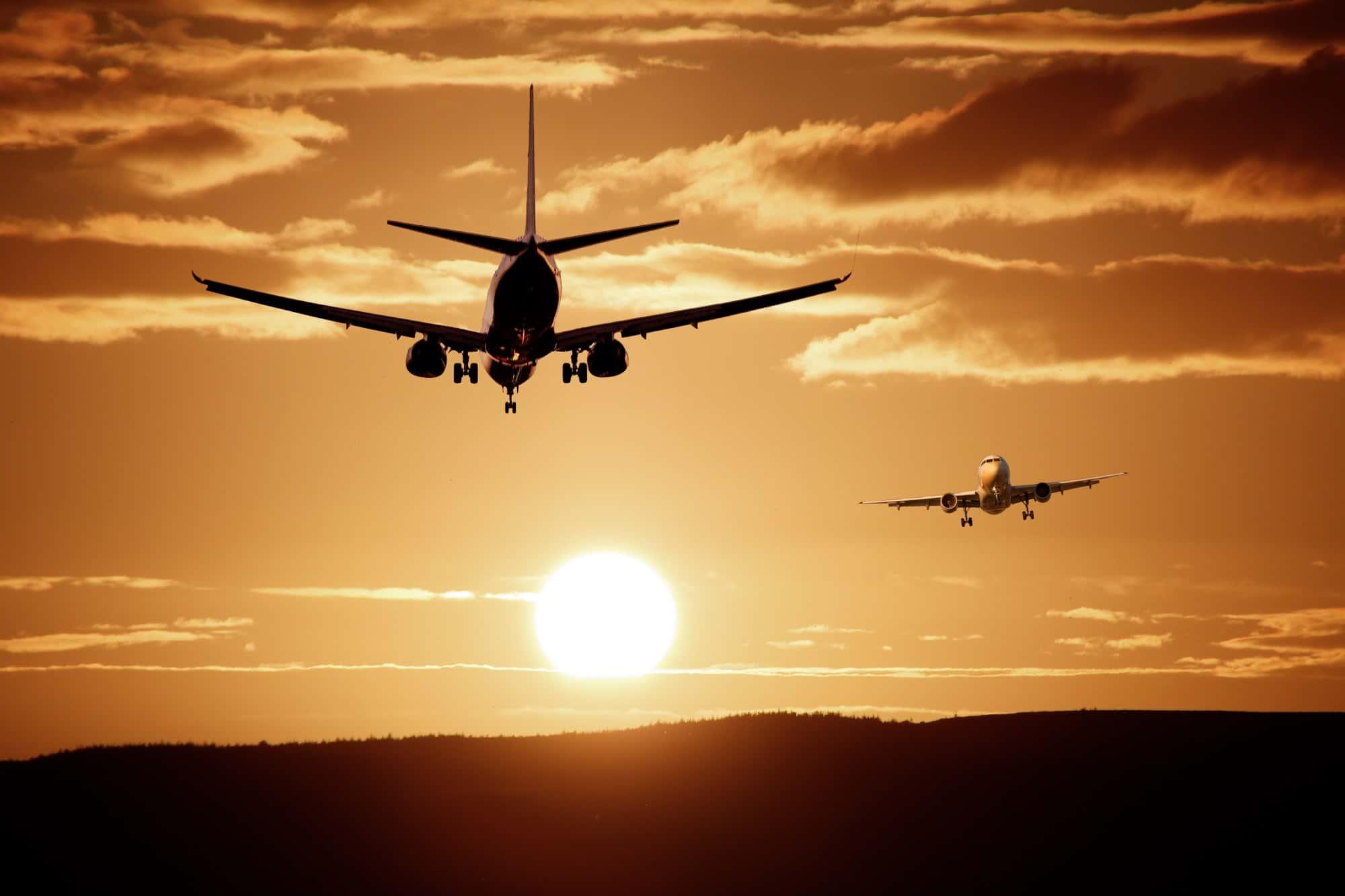volo, aereo, tramonto, cielo