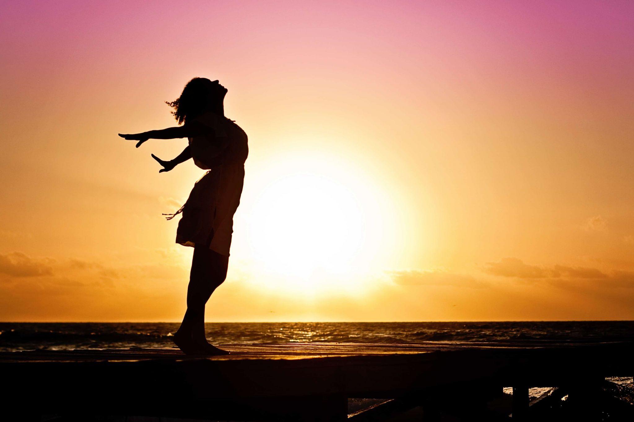donna, sole, tramonto, mare