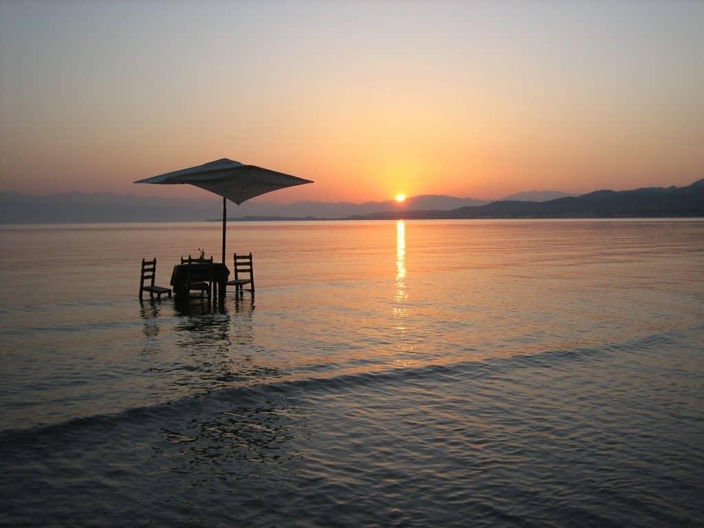 rodi, spiaggia, tramonto